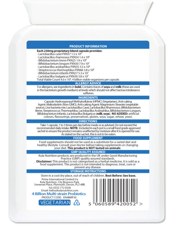 4 Billion Multi Strain Probiotics 30 Ingredients