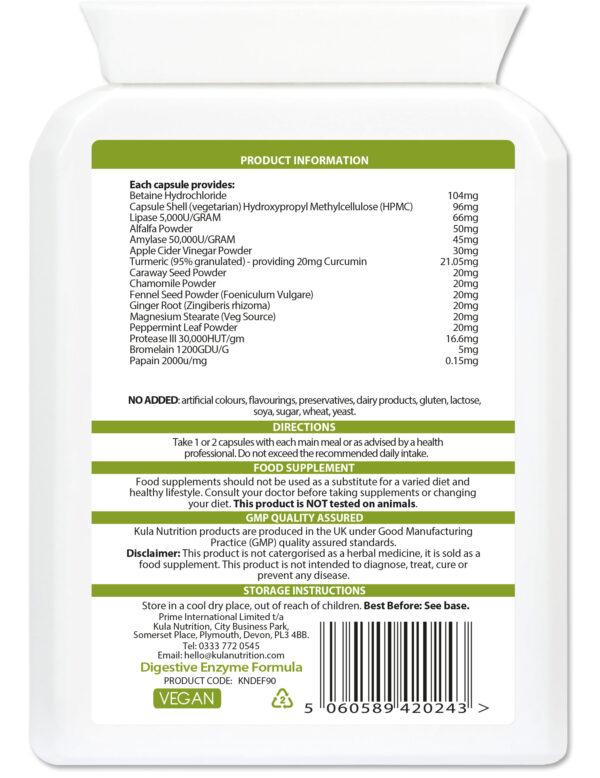 Digestive Enzyme Formula 90 Ingredients