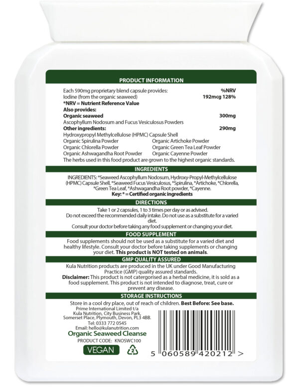 Organic Seaweed Cleanse 100 Ingredients