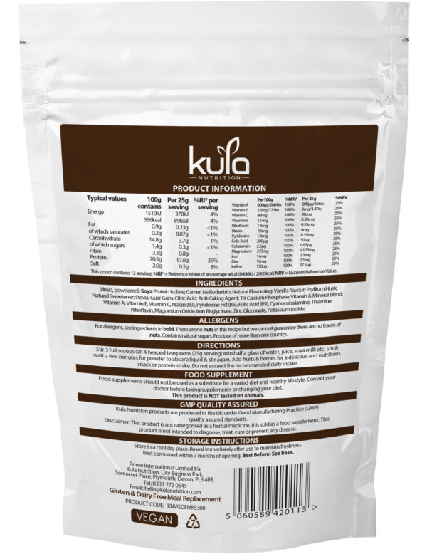 Vanilla Gluten and Dairy Free Meal Replacement Shake Ingredients